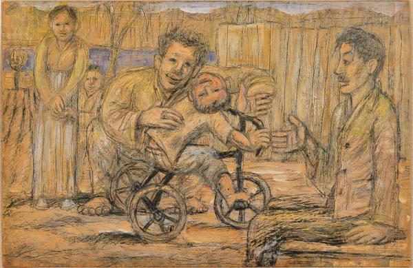 ▲이중섭, 시인 구상의 가족, 종이에 연필과 유채, 32x29.5cm(국립현대미술관)