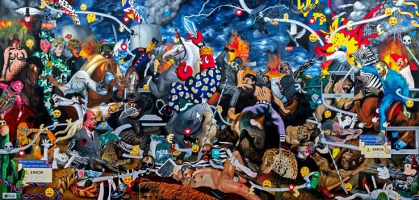 ▲필립 콜버트, Dark Hunt Triptych, 2018, 캔버스에 유채와 아크릴, 270x585x4.5cm(세종문화회관)