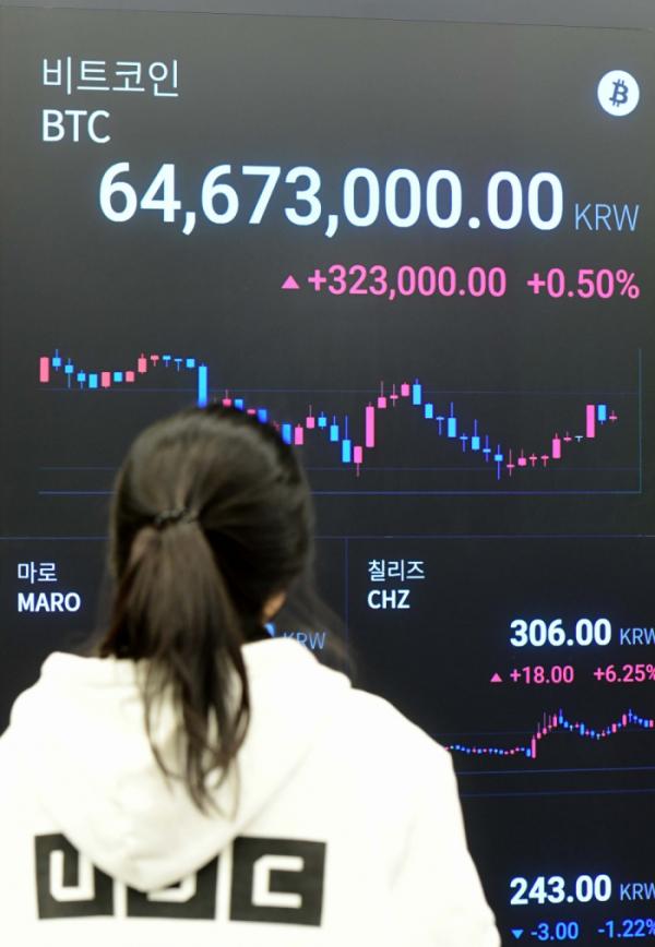 ▲지난 3월 중순 6,500만원을 넘은 비트코인(이투데이DB)