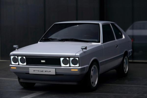 ▲현대자동차가 1975년 출시한 포니를 전기로 바꾼 '포니 전기 콘셉트카'를 선보였다.(현대차)