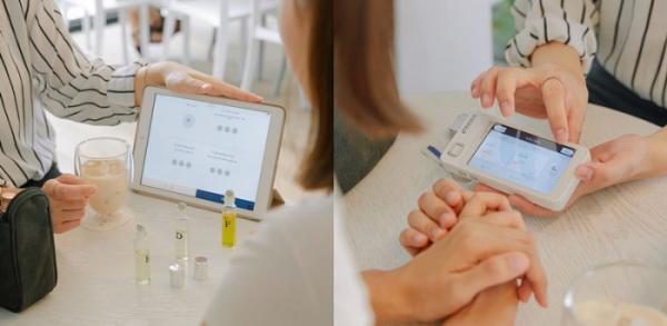 ▲기기를 통해 피부 상태를 측정하면 전문 뷰티 컨설턴트가 피부 부위 별 솔루션을 제안한다.(톤28 제공)
