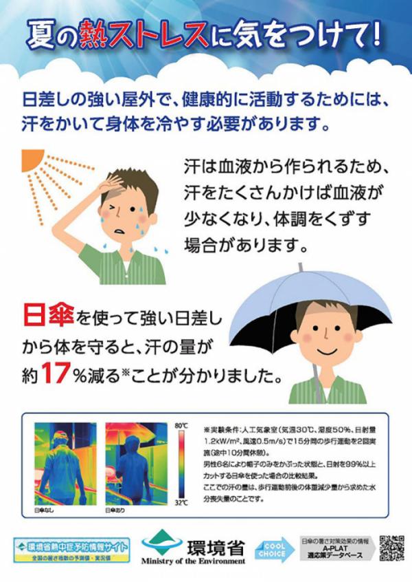 ▲일본의 '남성 양산 쓰기' 운동 포스터 (일본 환경성)