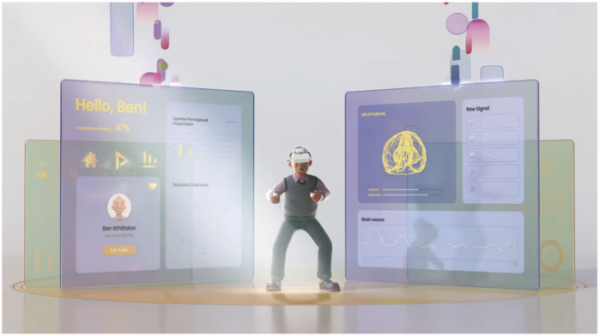 ▲루시 사용자는 매일 가상현실 헤드셋을 쓰고 인지 능력을 테스트한다.(룩시드랩스 유튜브)