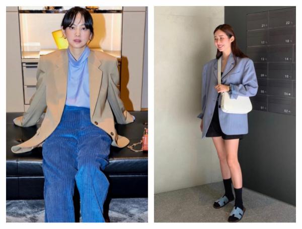 ▲2030 세대에서 오버핏 재킷이 다시 유행하고 있다. (윤승아, 차정원 인스타그램)