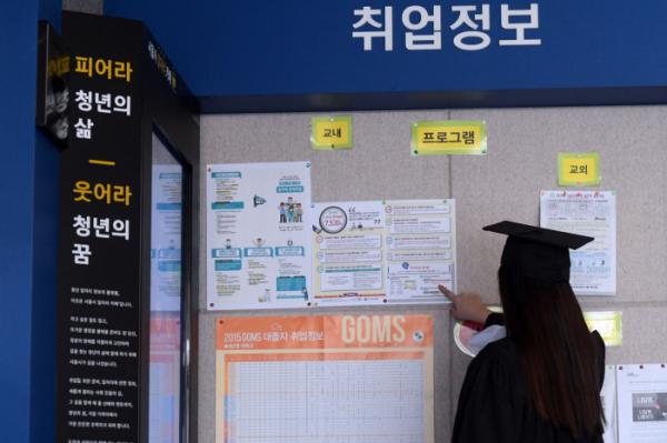 ▲한 학교 학위수여식에 참석한 졸업생이 취업정보 게시판을 살펴보고 있다.(이투데이)