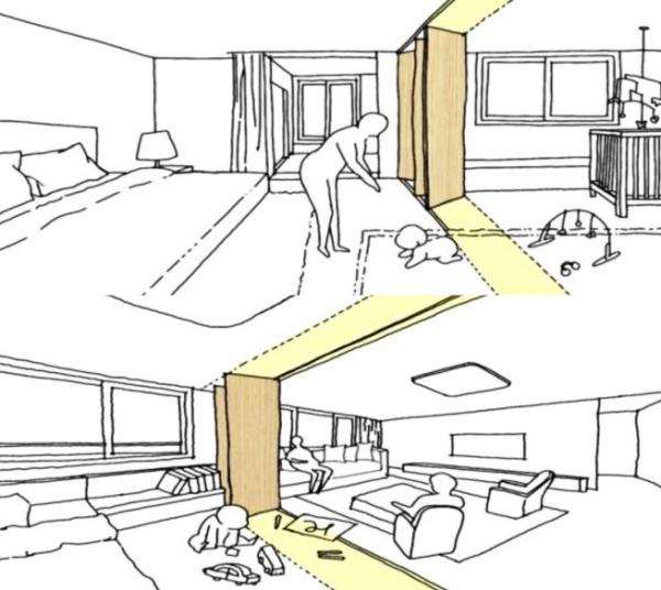 ▲일산2차 아이파크에 적용되는 무빙월도어 이미지 예시(자료=HDC현대산업개발)