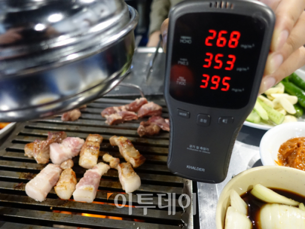 ▲C 음식점의 미세먼지 측정 결과. (김정웅 기자 cogito@)