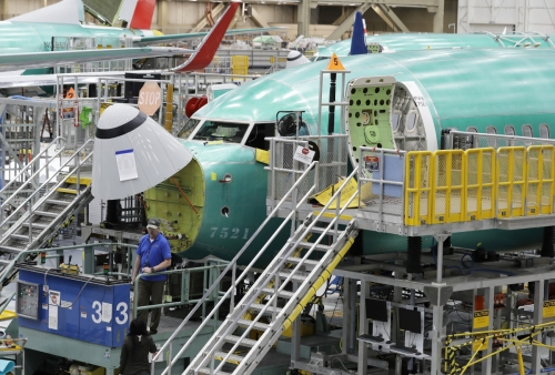 ▲보잉사의 737맥스 8 기종이 조립되고 있다. AP연합뉴스