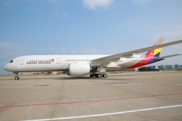 ▲아시아나가 도입한 A350 9호기(사진제공=아시아나항공)