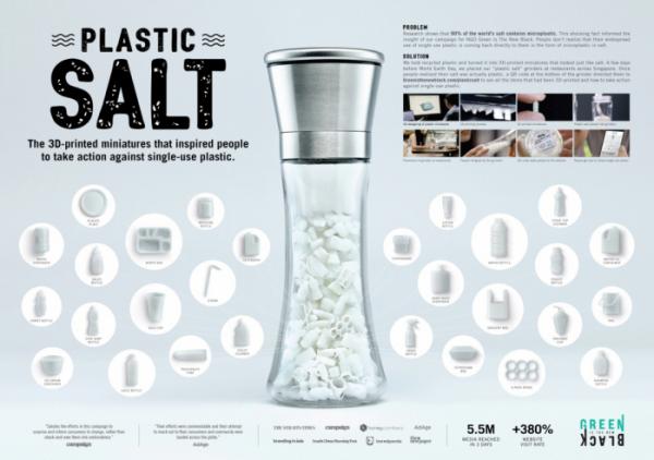▲광고명 'Plastic Salt'. 광고주는 'Green Is The New'이다. 광고회사 Dentsu Singapore. 소금을 플라스틱화하여 미세 플라스틱에 대한 문제 인식 및 사람들에게 사용 거부를 장려하려 한다는 내용이다.