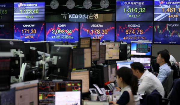▲22일 오후 서울 중구 KEB하나은행 딜링룸 전광판에는 코스피 지수가 전 거래일에 비해 1.02(-0.05%)포인트 하락한 2093.34에 마감했다.