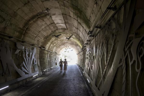 ▲한여름에도 서늘한 냉기를 뿝는 순창 향가터널.