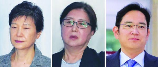 ▲사진 왼쪽부터 박근혜 전 대통령, 최순실 씨, 이재용 삼성전자 부회장