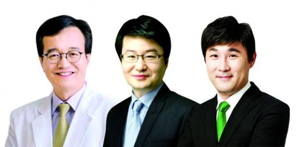 ▲(왼쪽부터)서울대병원 피부과 정진호 교수. 프로스테믹스 박병순 대표. 고운세상코스메틱 안건영 대표.