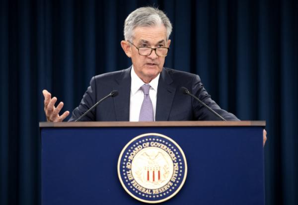 ▲제롬 파월 미국 연방준비제도 의장이 19일(현지시간) 워싱턴DC에서 연방공개시장위원회(FOMC)를 마치고 결과를 설명하고 있다. (UPI연합뉴스)
