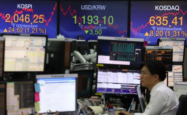 ▲8일 코스피지수는 24.52포인트 상승한 2046.25에 장을 마쳤다. (연합뉴스)