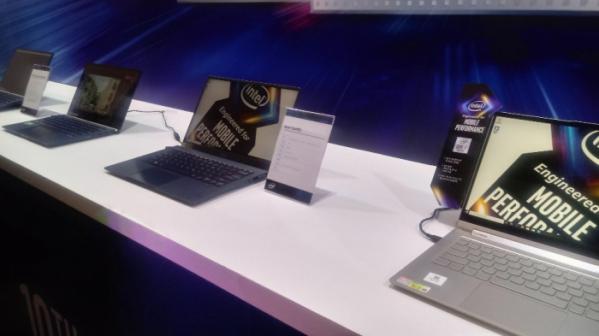 ▲인텔 10세대 코어 프로세서로 구동되는 노트북 제품들 (한영대 기자 yeongdai@)