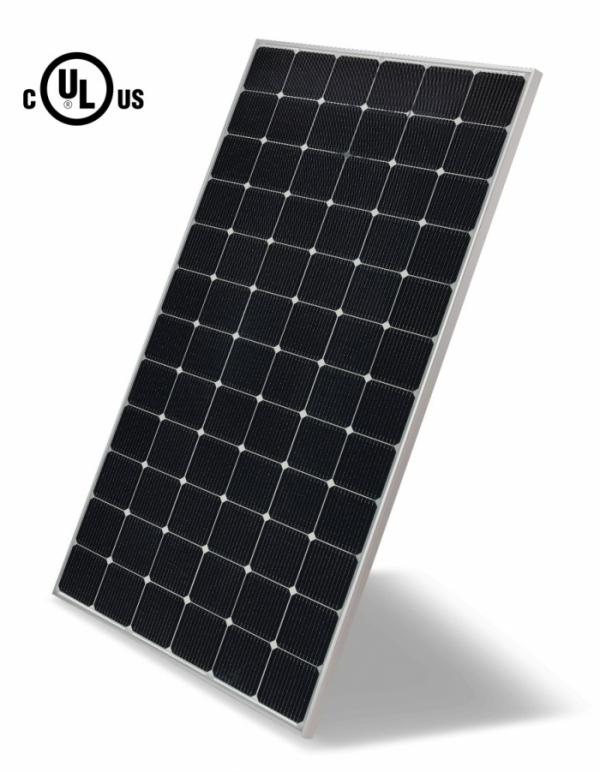 ▲LG전자가 양면발전 태양광 모듈에 대해 국내 최초로 UL 안전 규격 인증을 획득했다. 사진은 『UL1703』인증을 받은 LG전자 '양면발전 태양광 모듈' 제품 이미지(모델명:LG425N2T-V5)(사진제공=LG전자)