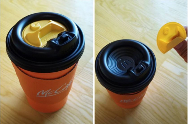 ▲얼마 전 'What are these plastic things on top of Korean McDonalds coffee cups?'라는 제목으로 노란색 플라스틱 용도에 대한 글이 올라왔다. (출처=레딧 게시물 캡처 )