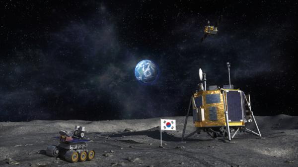 ▲대한민국 탐사착륙선과 탐사로봇이 달에 착륙한 상상도  (한국항공우주연구원)