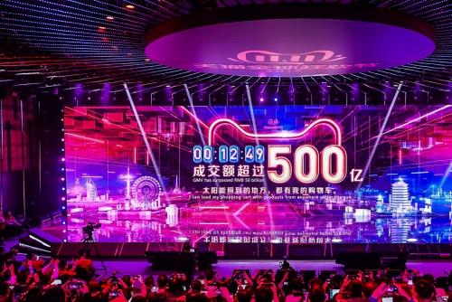 ▲중국 항저우에 있는 알리바바 본사에서 11일(현지시간) 광군제가 시작한지 12분 49초 만에 500억 위안 매출을 돌파했다는 메시지가 전광판으로 나오고 있다. 항저우/AFP연합뉴스