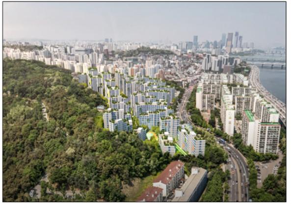 ▲현충원과 서달산, 한강변 도시풍경과 어울리는 단지계획(안). (출처=서울시)