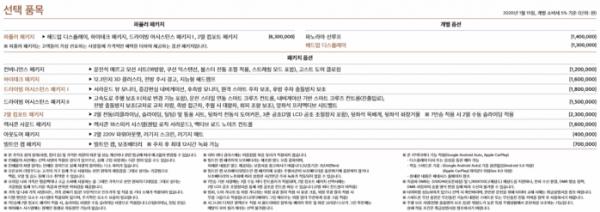 ▲제네시스 GV80 가격표-선택 품목