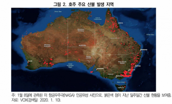 ▲대외경제정책연구원 보고서 '호주 산불 피해의 경제적 영향과 시사점'에서 발췌. (출처=대외경제정책연구원)