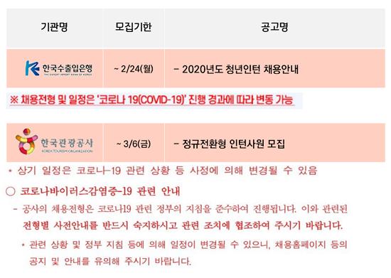 ▲코로나19로 인해 채용 전형이 변경될 수 있음을 공지한 한국수출입은행과 한국관광공사. (인크루트 제공)