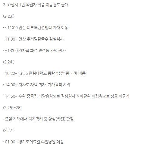 ▲화성시 코로나 확진자 동선 공개. (출처=화성시 홈페이지)