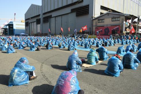 ▲현대중공업 노동조합이 올해 3월 첫 파업할 때 당시 모습. (출처=현대중공업 노동조합 홈페이지)