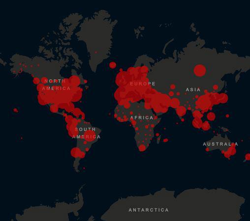 ▲8일(현지시간) 전세계 확진자 현황. 출처 미 존스홉킨스대학