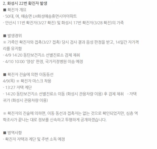 ▲화성시 코로나 확진자 동선 공개 (출처=화성시청 홈페이지)