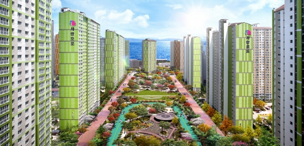▲창원시 월영동 '마린애시앙' 아파트 조감도. (자료 제공=부영주택)