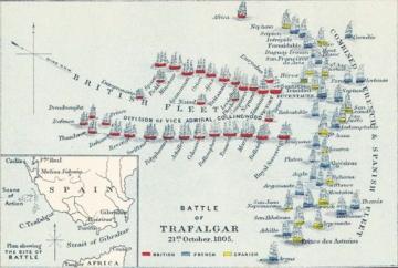 ▲트라팔가 해전의 상황도. 붉은 배가 영국군, 파란 배는 프랑스군, 노란 배는 스페인군이다. 영국 해군의 2열로 열을 지어 적진을 향해 돌격하는 붉은 배 중 앞쪽 선두에 선 배가 바로 넬슨 제독의 기함(HMS Victory)이다.