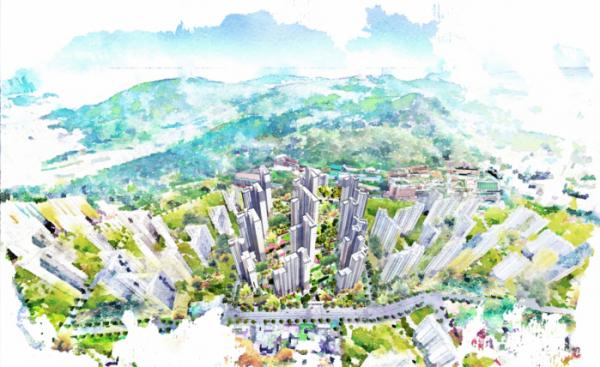 ▲KCC건설이 부산 부산진구 양정동에서 분양한 '양정 포레힐즈 스위첸' 아파트 조감도.