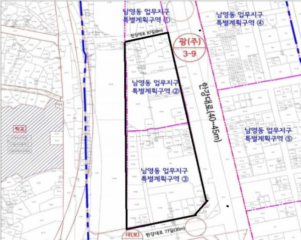 ▲서울 용산구 남영동 업무지구 특별계획 구역 위치도.  (서울시)