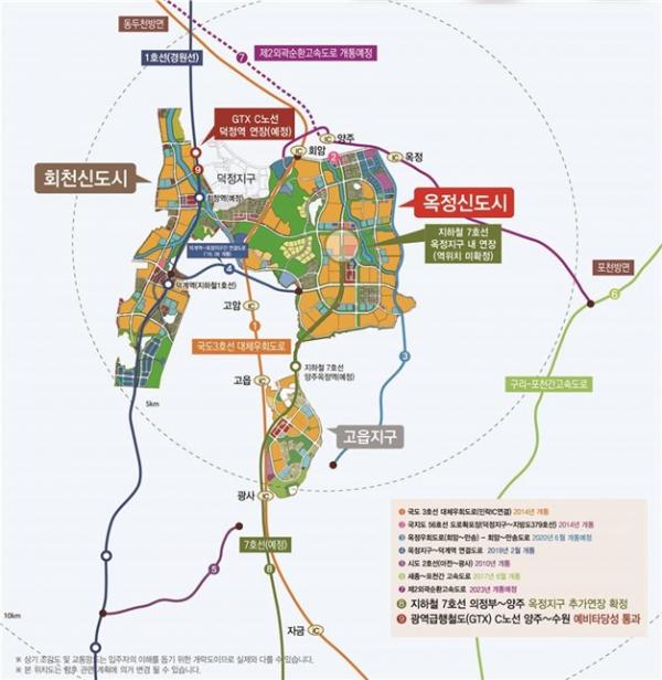 ▲양주 회천신도시 위치도 및 토지이용계획도. (LH)