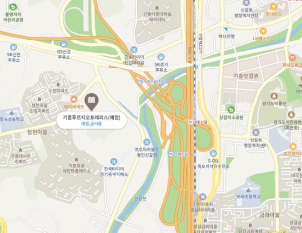 ▲대우건설 '기흥 푸르지오 포레피스' 위치 (사진=네이버지도)