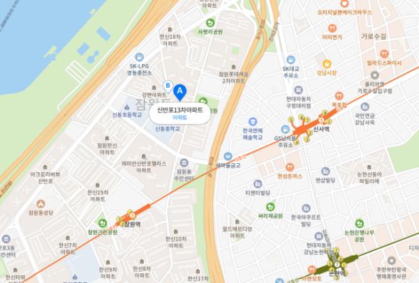 ▲서울 서초구 신반포13차아파트 위치도 (사진=네이버지도)