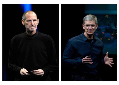 ▲고(故) 스티브 잡스(왼쪽) 애플 공동 설립자와 팀 쿡 현 CEO. 블룸버그