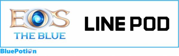 ▲블루포션 개발 게임 에오스 로고(좌), 라인 게임 플랫폼 라인피오디 로고.
