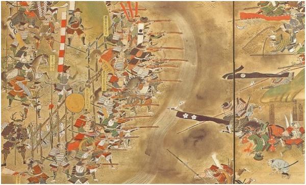 ▲1475년 나가시노 전투를 묘사한 그림. 조총으로 무장한 오다·도쿠가와 연합세력은 이 전투에서 다케다의 기마대를 전멸시켰다.  사진출처 사무라이월드닷컴