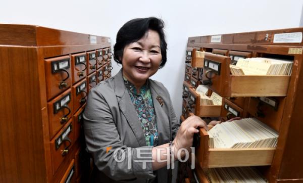"""▲서 관장은 """"국립중앙도서관이 수집한 자료들이 완전하게 보존될 수 있도록 지속적인 투자가 이뤄져야 한다""""고 강조했다. 신태현 기자 holjjak@"""