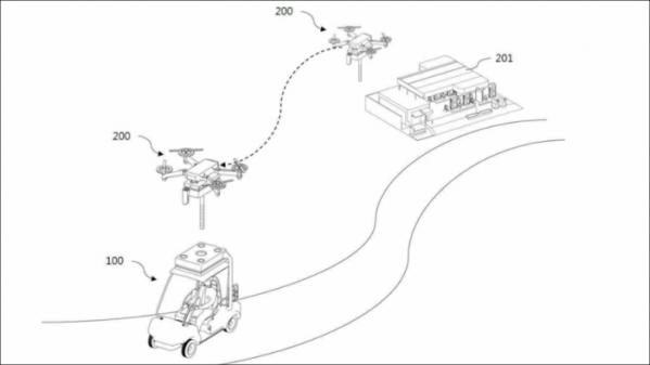 ▲공중급유드론을 이용한 전동카트의 연료 공급 시스템.  (사진제공=아이온커뮤니케이션즈)