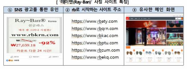 ▲레이밴 사칭 사이트 특징 (사진제공=한국소비자원)