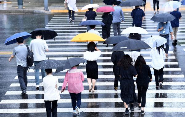 ▲전국에 본격적인 장마가 시작된 24일 서울 세종대로에서 우산을 쓴 시민들이 발걸음을 옮기고 있다. 신태현 기자 holjjak@