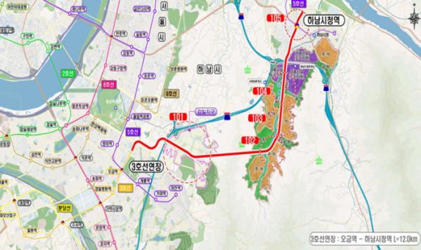 ▲송파~하남 간 도시철도 대안 중 3호선 연장안. (출처=국토교통부)