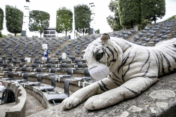 ▲스페인 바르셀로나의 몬주익 언덕에 있는 그리스 원형극장이 6월 25일(현지시간) 텅 빈 가운데 마스크를 쓴 호랑이 인형이 놓여져 있다. 바르셀로나/신화뉴시스
