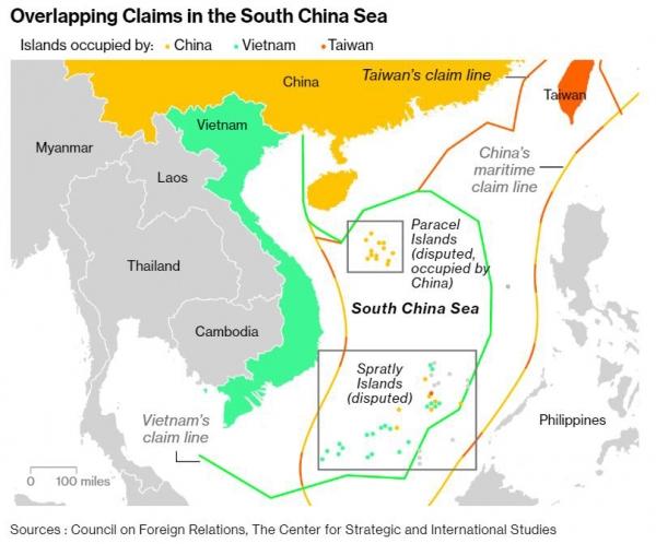 ▲각국이 점유하는 섬. 노란색 : 중국/ 연두색 : 베트남/ 노란색 : 대만. 출처 블룸버그통신